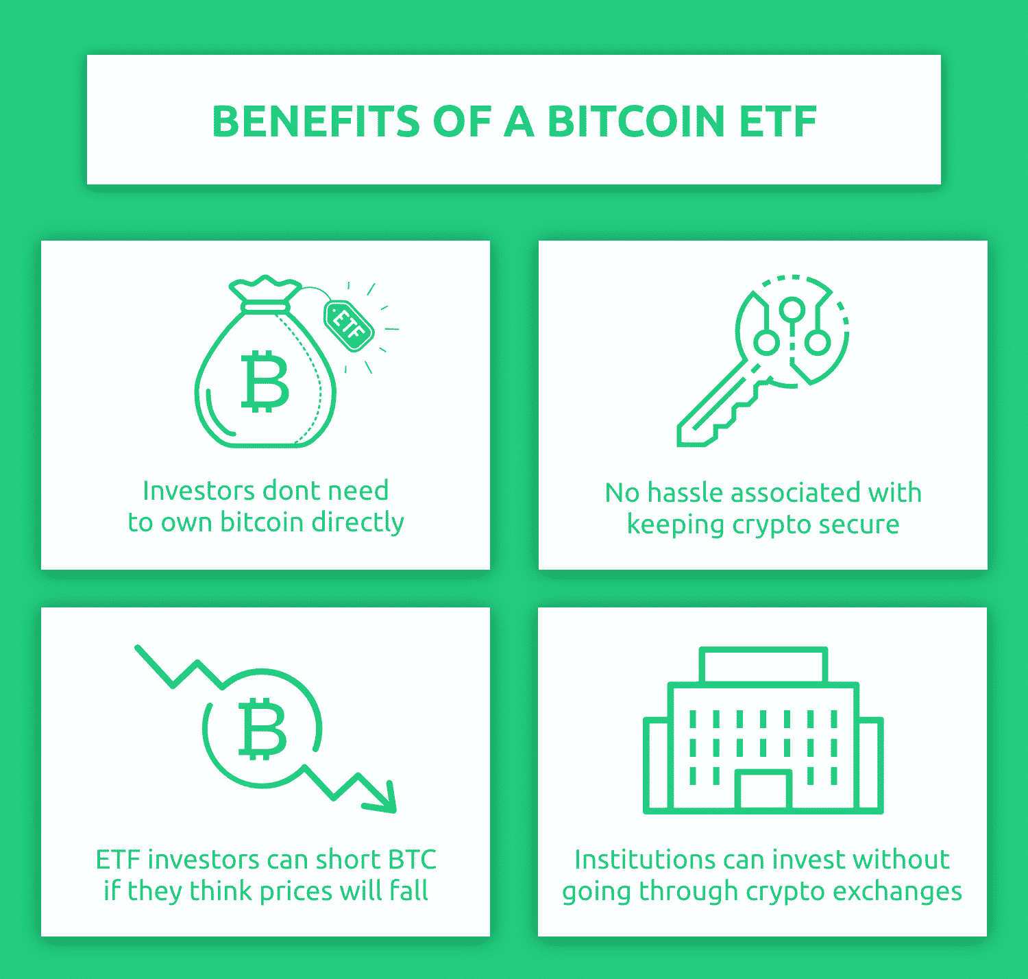 What are the main reasons for investing in crypto ETFs?