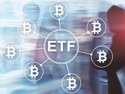 Bitcoin ETF cryptocurrency trading and investment concept on double exposure background.
