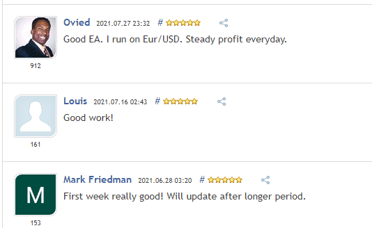 User reviews for Advanced Hedge claiming it is a profitable EA