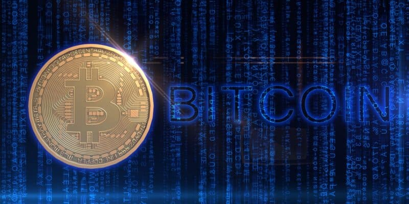 Bitcoin on the blue background