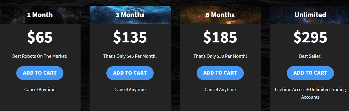 Pricing packages for FX Scalper X