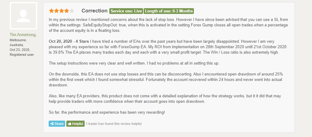 Customer review for Forex Gump onForex Peace Army