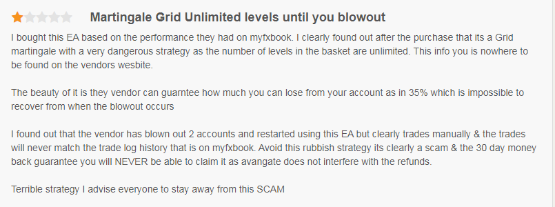 Customer stating the EA uses a martingale grid that can blow out your account