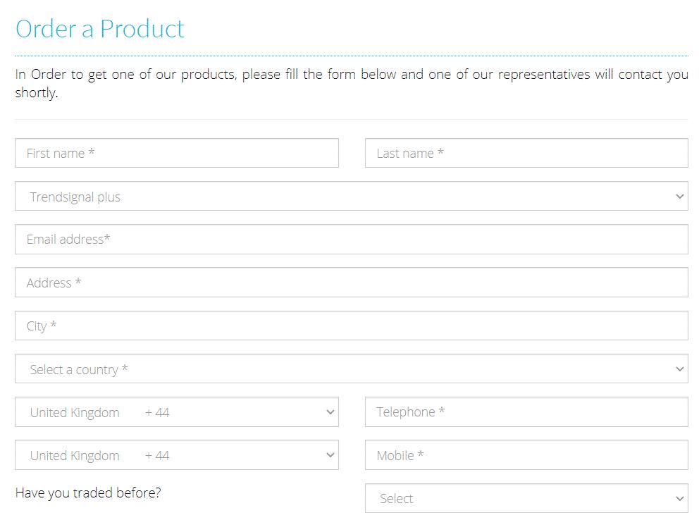 Trend Signal registration form