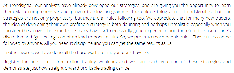 Trend Signal trading strategy explanations