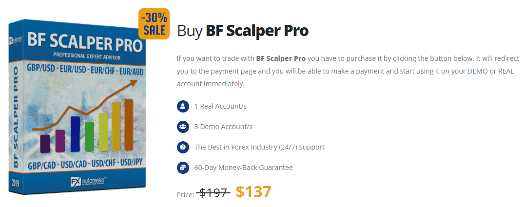 Pricing package of BF Scalper Pro EA