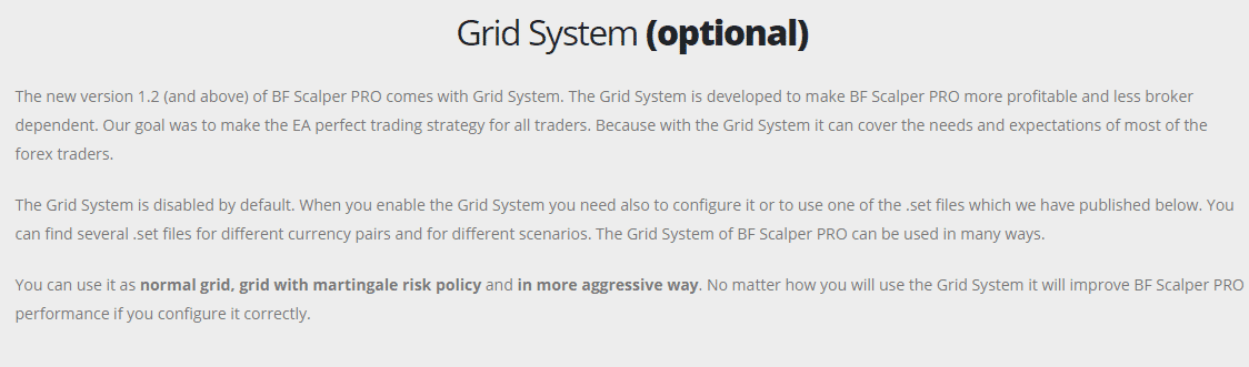 The Grid approach used by BF Scalper Pro EA