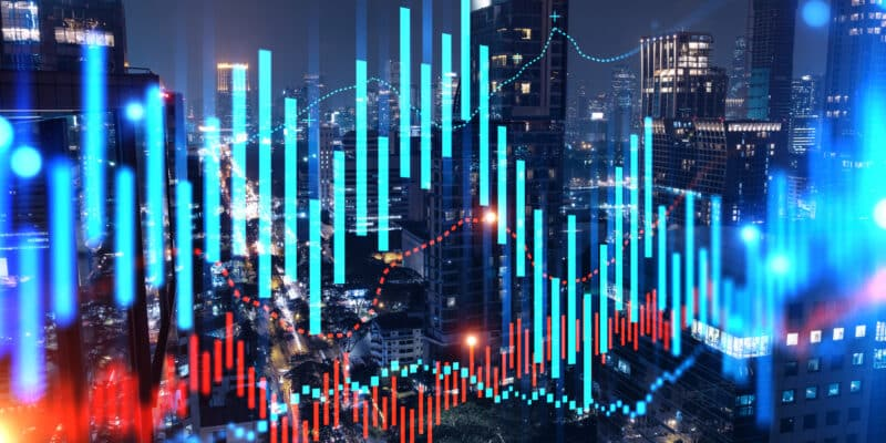 FOREX graph hologram, aerial night panoramic cityscape of Bangkok, the developed location for stock market researchers in Asia. The concept of fundamental analysis.