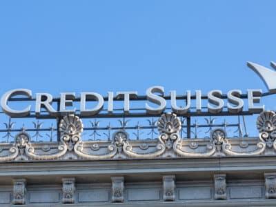 Zurich, Switzerland - 7 June, 2015: Credit Suisse logotype on the top of the Credit Suisse building on the Paradeplatz square