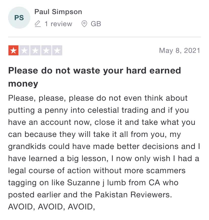 Negative customer testimonial