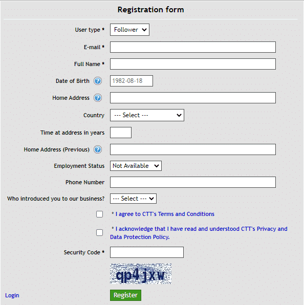Dynamic EA registration form