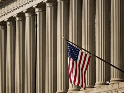 columns and american flag
