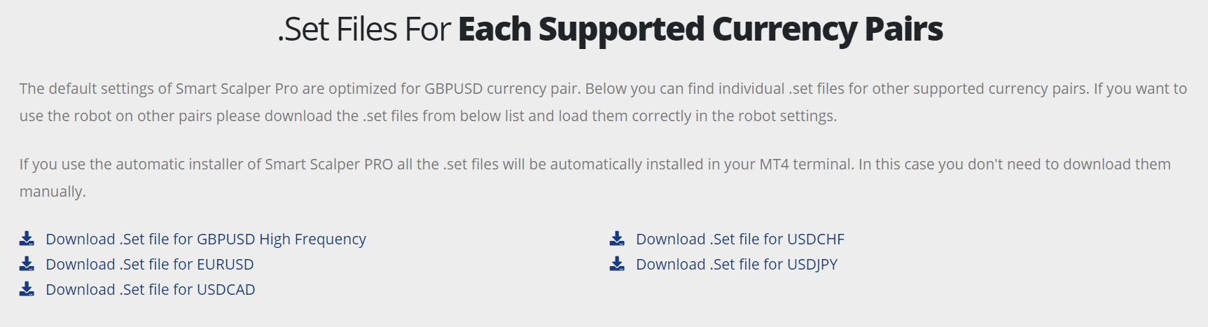 Smart Scalper Pro settings files