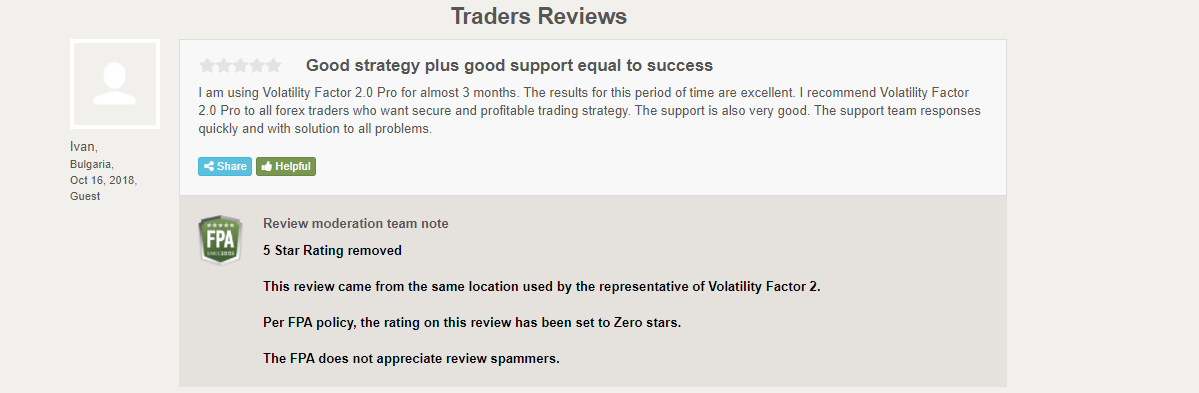 User review for Volatility Factor 2.0 on Forexpeacearmy