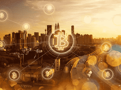 Many icons of bitcoins logo and the city on the background
