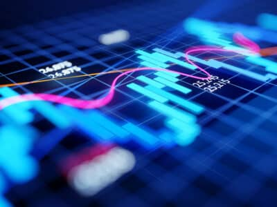 Close up and focused stock market business investment candlestick chart - Economy and trading concept