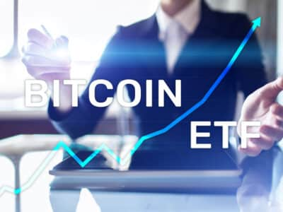 Bitcoin ETF, Exchange traded fund and cryptocurrencies concept on virtual screen