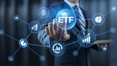 ETF Exchange traded fund stock market trading investment financial concept.