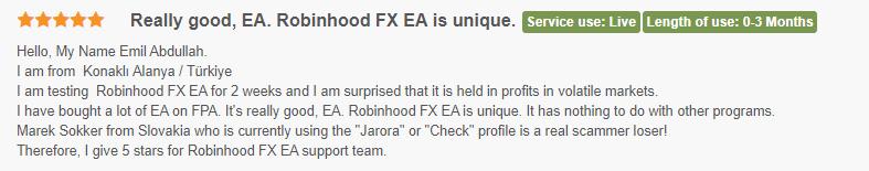 User review for Robinhood FX EA
