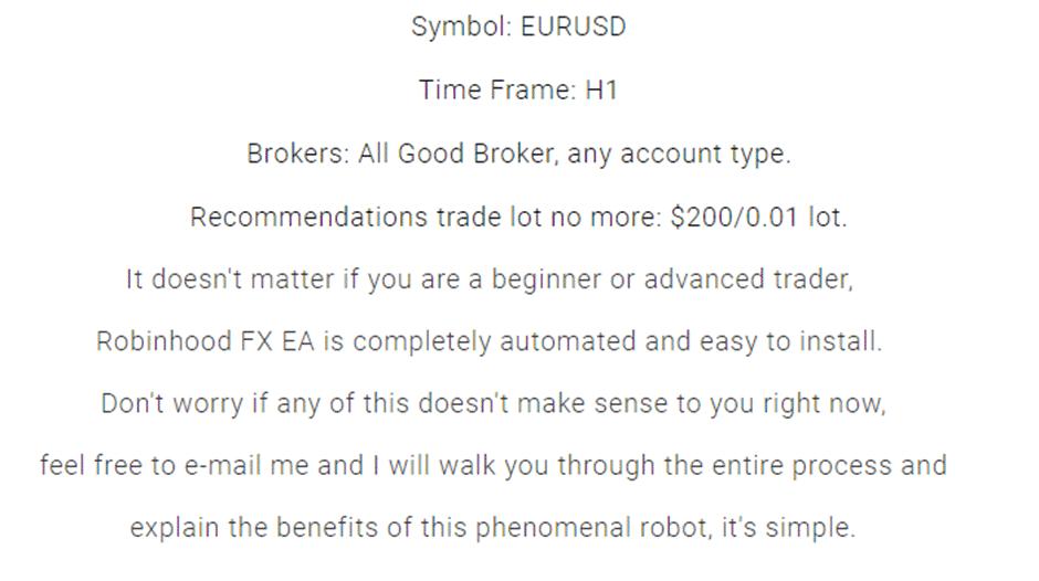 Recommendations for Robinhood FX EA